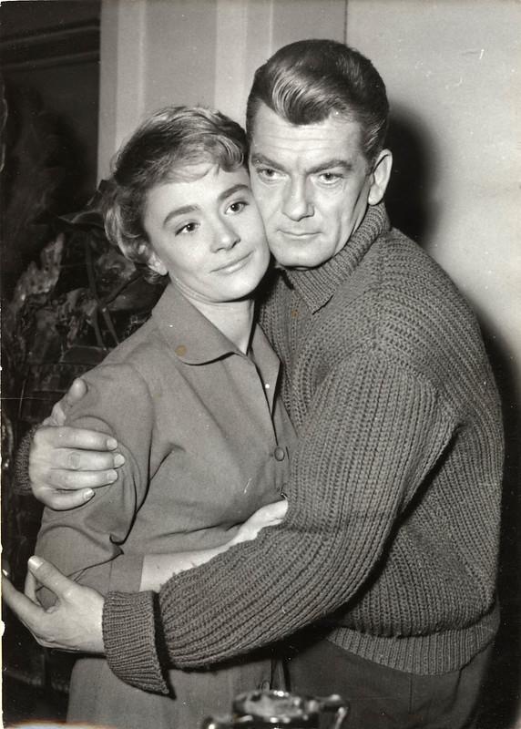"1957 December 15 - anonymous photographer, Keystone - Daniele Delorme & Jean Marais in scene from ""Chaque Jour a son Secret"""