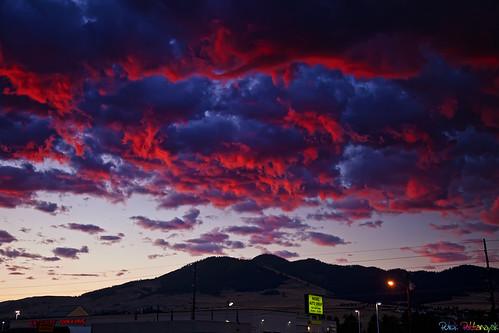 red usa sunrise us montana mt missoula fiery