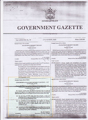 Government Gazette censorsing Owen Maseko's art