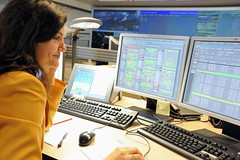 Overview of the Operations centre with people at work