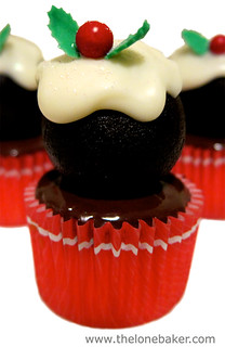 Mini Chocolate Tia Maria Christmas Pudding Cupcakes