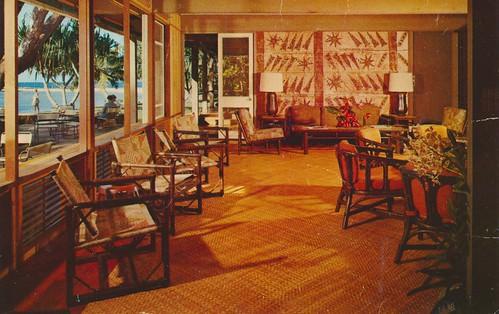 vintage hawaii postcard resort lobby kauai lamps windowswithaview
