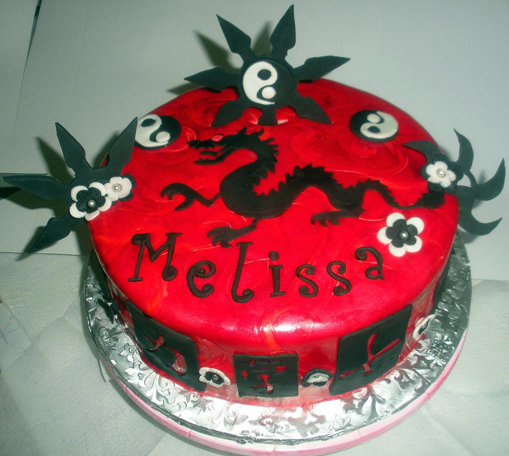 Peachy Ninja Birthday Cake Andrea Flickr Funny Birthday Cards Online Hendilapandamsfinfo