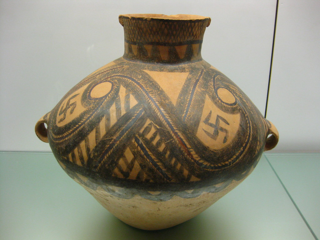 Neolithic Pottery Jar with Swastika