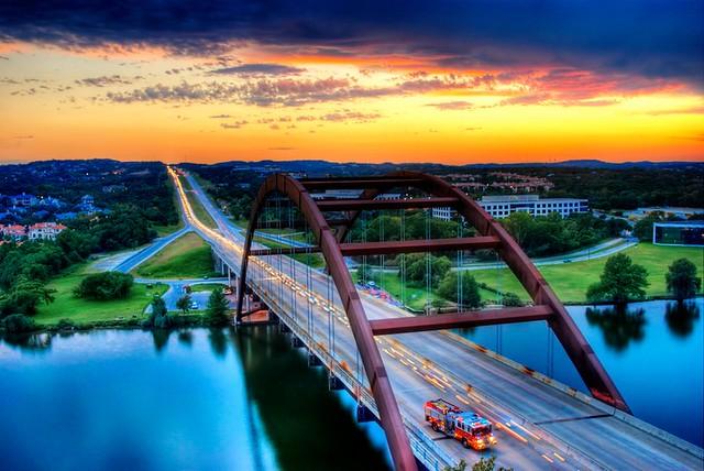 Sunset at the Loop 360 Bridge