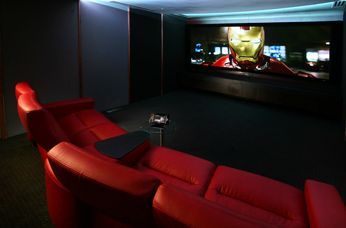 Cinema with seating, control and cinemascope screen