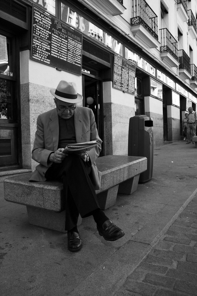Spanish grandpa on a bench