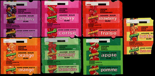 Canada - Adams Sour gum packages - assorted - 1970's | Flickr