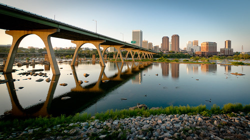 bridge blue sunset summer sky usa skyline architecture reflections river landscape geotagged manchester photography james virginia smithsonian us photo nikon noir cityscape sigma arches richmond va photocontest rva waterscape fallline skynoir smithsonianchannel aerialamerica bybilldickinsonskynoircom