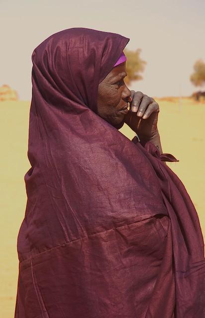 Touareg Woman Watching at Festival Tamadacht, Anderamboukane, Mali.