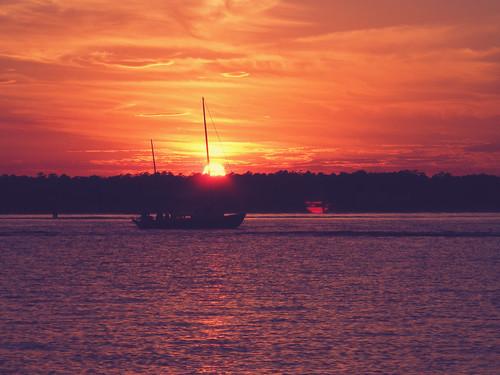 sunset water silhouette sailboat lensflare sound wrightsvillebeach nellyneroatn