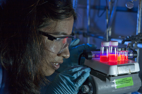 Researcher working with nanocrystals
