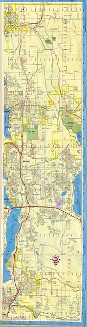 Seattle Street Map 1966 Chevron East Side