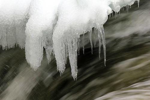 ice snow river icicles water splash