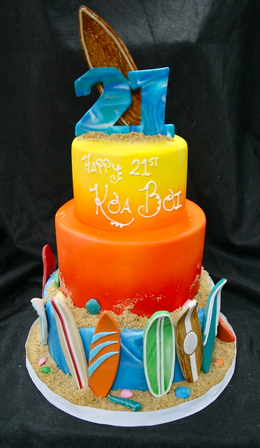 Surfing themed Birthday cake