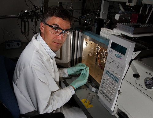 A scientist performs Isotope Ratio Mass Spectrometry
