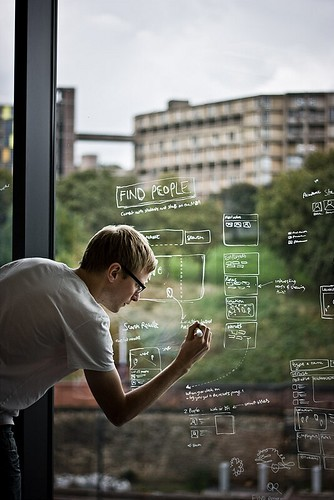 Wireframe sketching on the office windows at Yoomee | by yoomeehq