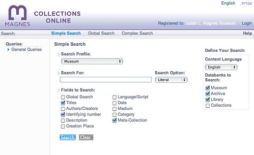 Magnes Online Database Web Interface: Single Search and Dedicated Searches