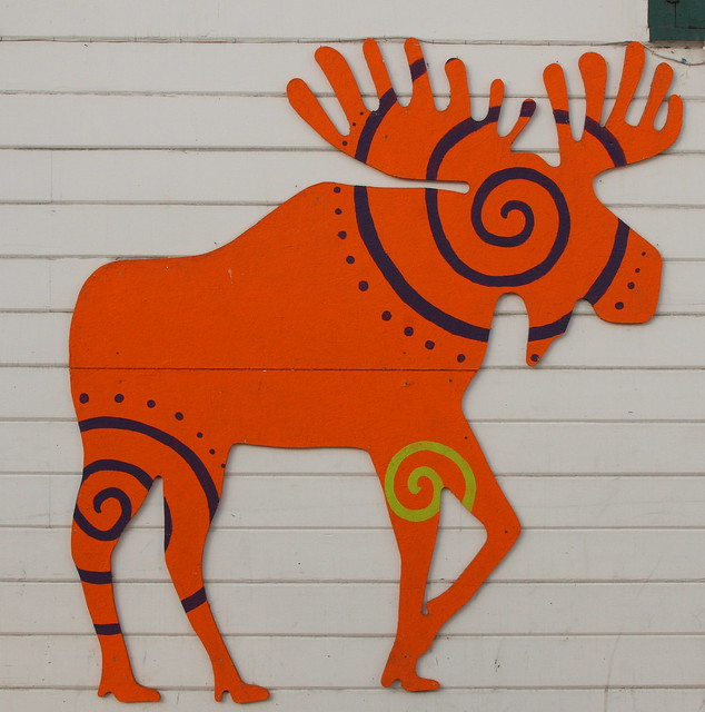 Moose on the side of a building in downtown Anchorage