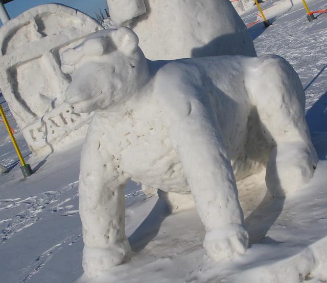 Snow sculpture on its last legs