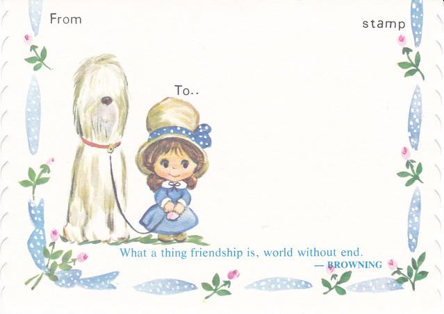 Polly Prim Friendship Dog Postcard