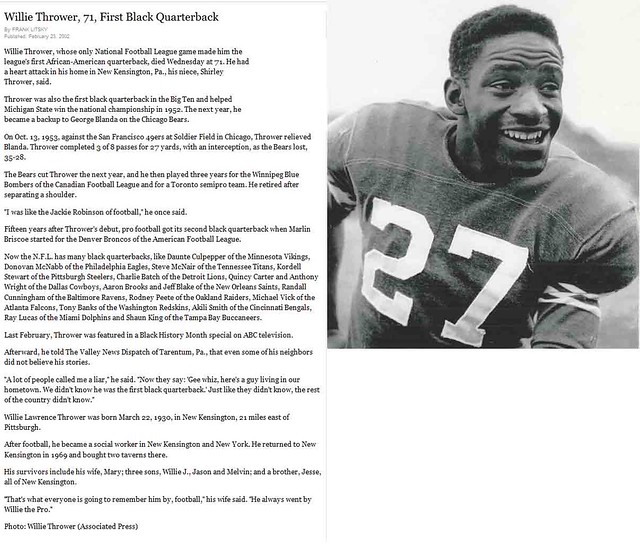 The NFL's First Black Quarterback, Willie Thrower, Dies at 71 in New Kensington, PA - February, 2002