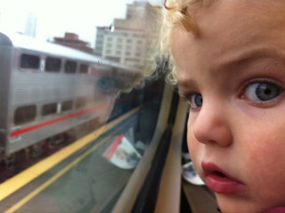 Leo's first Caltrain ride, just for fun on a rainy day. | by Sagolla