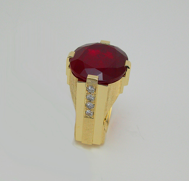 Ruby and Diamond Clunker Ring 48 grams / 3
