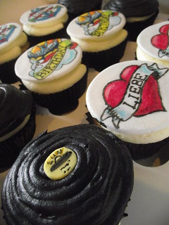 1950's style tattoo vanilla cupcakes & Chocolate sun records LP's
