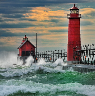 """""""September Gale"""" Grand Haven Breakwater Lighthouse is located in the harbor of Grand Haven, Michigan (Explore # 5  Sept, 16 2010) 
