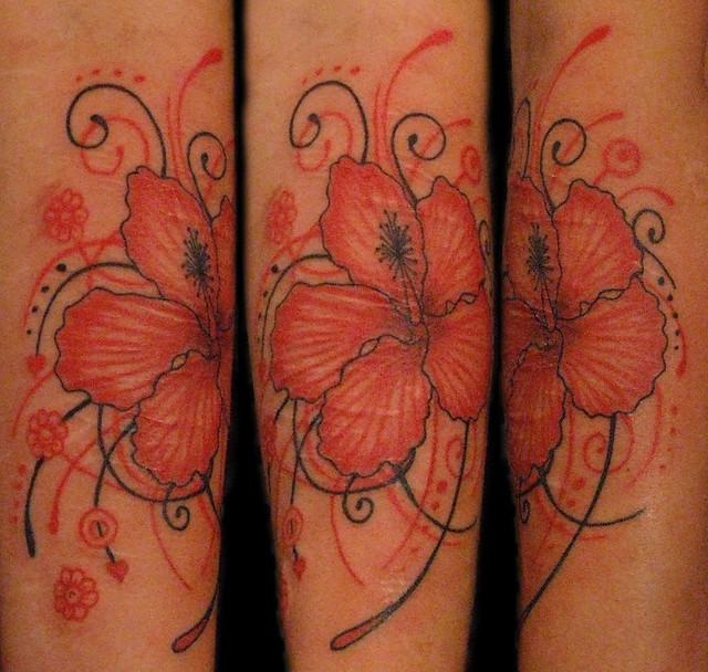 Lily and Girly Swirly Pattern Tattoo