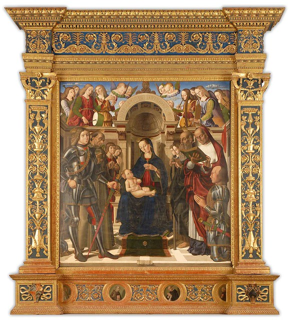Giovanni Santi (father of  Raphael):  Enthroned Madonna with child and Saints (1489)