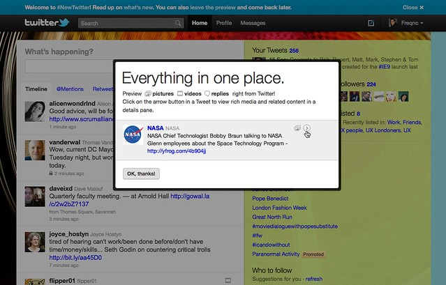 New Twitter UI - First time modal