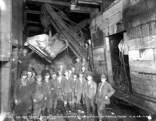 Last shovel gang in the Cascade Tunnel, Washington