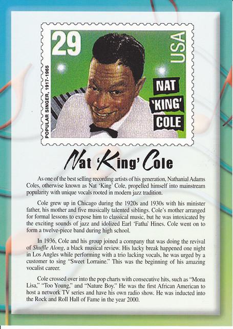 USPS Legends of American Music Nat 'King' Cole Postcard