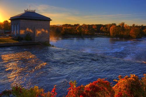 autumn fall canon river waterfall vermont foliage ottercreek vergennes hydrodamn