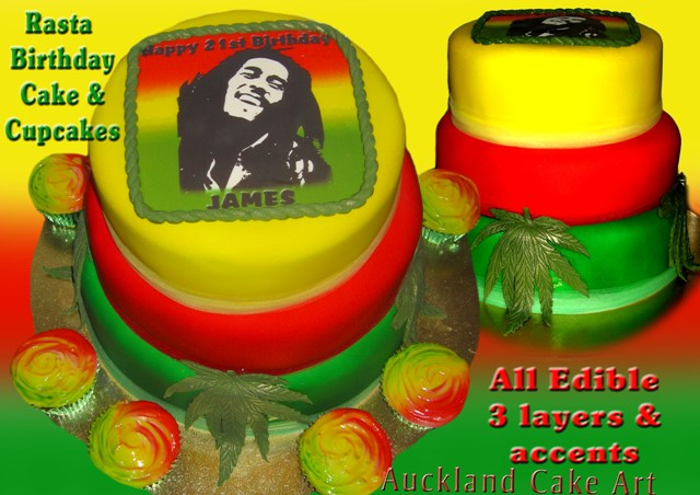 Stupendous Rasta Bob Marley Marijuana Birthday Cake Rasta Birthday Ca Flickr Funny Birthday Cards Online Alyptdamsfinfo