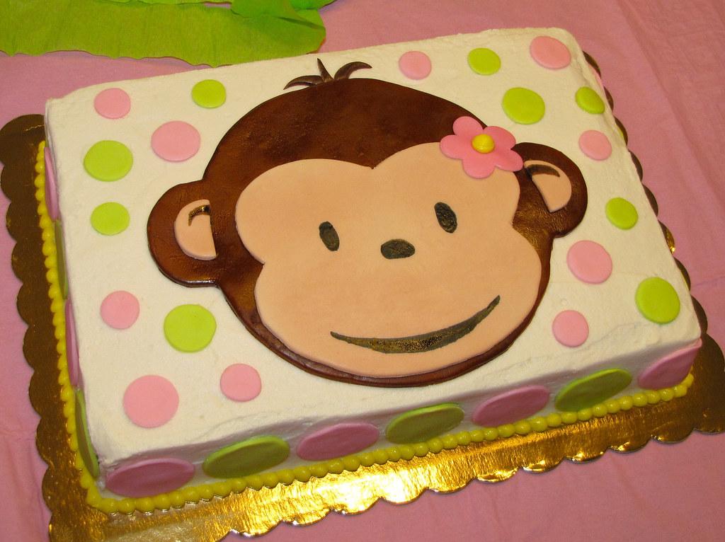 Pink Mod Monkey First Birthday Buttercream And Fondant Dork