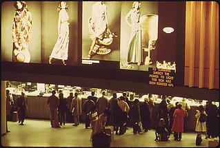 Passengers line up in New York City's Grand Central Station to buy tickets for Amtrak passenger trains, 04/1974.