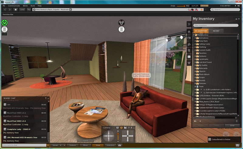 Screen shot of Second Life Viewer 2 2 0 - skinned with Sta