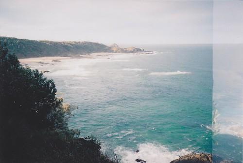 blue sea sky green beach 35mm lomo
