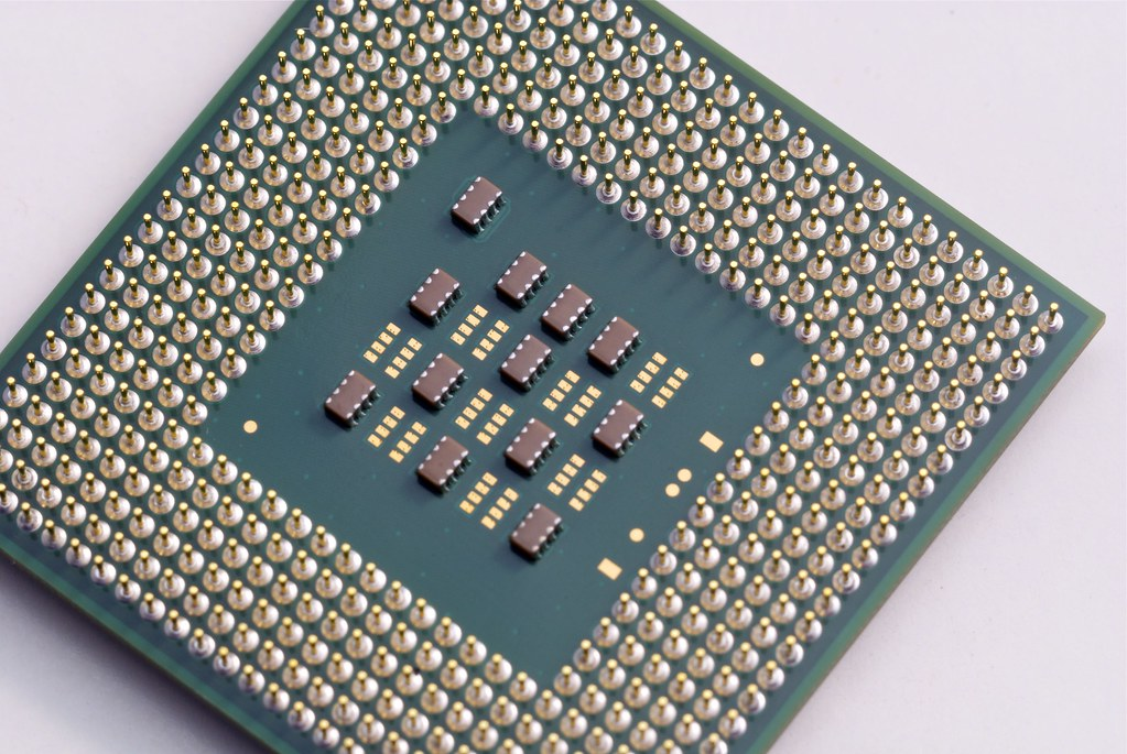 Close up of the connector side of a CPU chip
