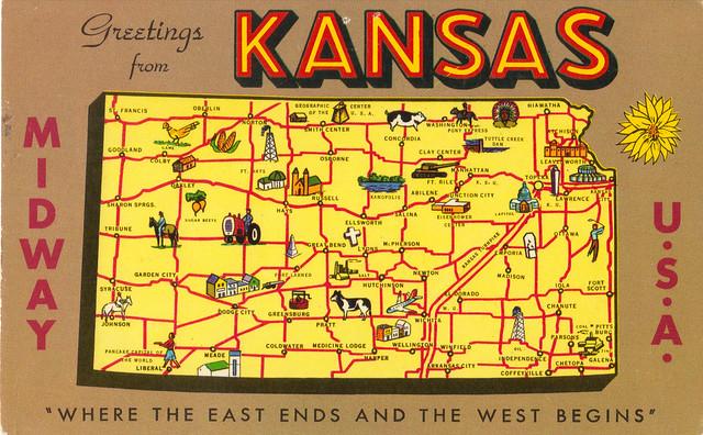 Kansas Map Greetings State Postcard