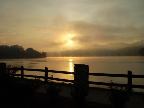 sunset fog day