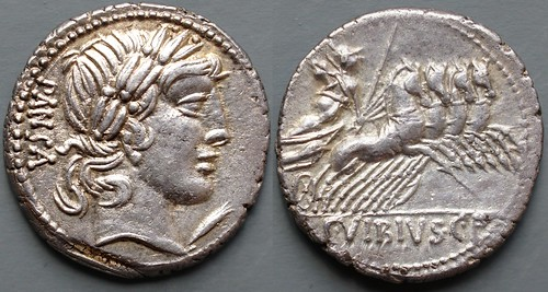342/5b #10113-40 C.VIBIVS C.F PANSA Apollo Minerva quadriga Denarius ex Nelson Bunker Hunt collection Sotheby's June 1991 | by Ahala