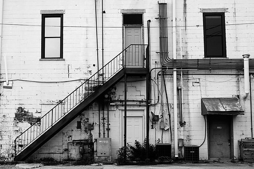 county city white black building monochrome june stairs canon photography eos mono back alley downtown clayton rear wells arkansas usm saline ef 1740mm 2010 benton f4l 40d img3027 thechallengefactory