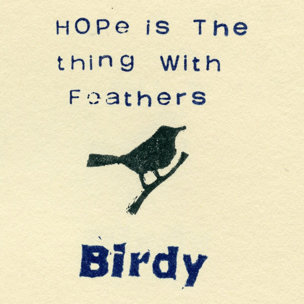 Bird Printed with Rubber Stamp