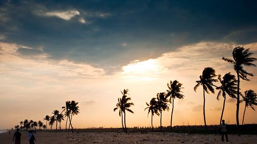 sunset beach night palms landscapes cloudy lagos westafrica nigeria