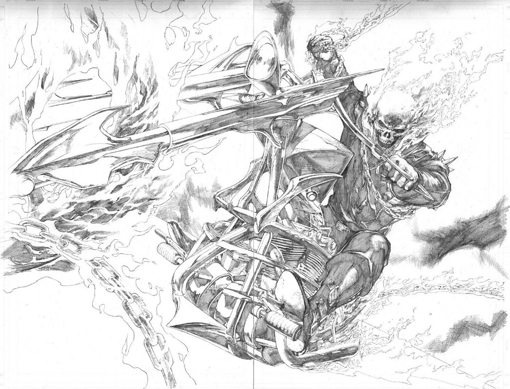 Ultimate ghost rider pencils by leinil yu from ultimate av flickr