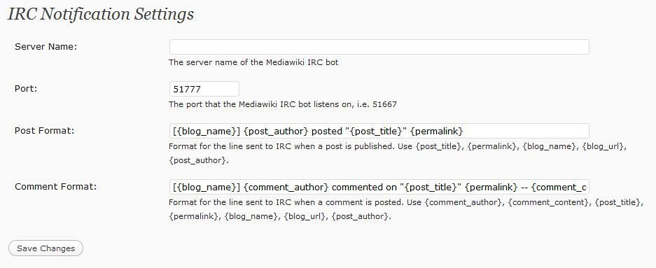 Wordpress IRC Notifications